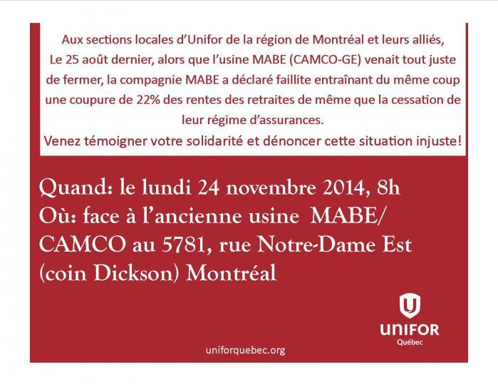 Annonce de la manifestation d'Unifor pour les retraités de MABE