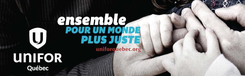 Bannière de la campagne pour un monde plus juste  - Unifor